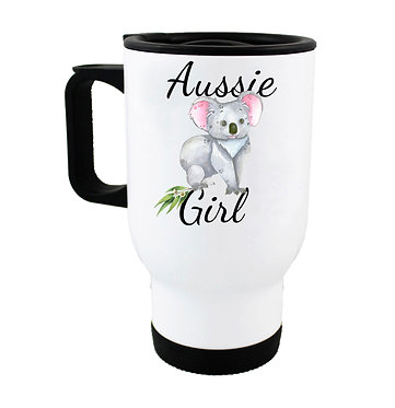 Travel mug with Australian Aussie girl koala image front view