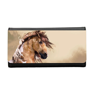 Ladies/girls purse wallet wild paint horse image front view
