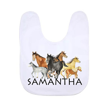 Babies bib white with group of horses image front view