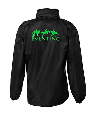 Black with green horse eventing image rain sheet jacket back view
