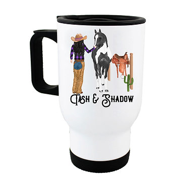 Personalised travel mug stainless steel black haired cowgirl and horse image front view