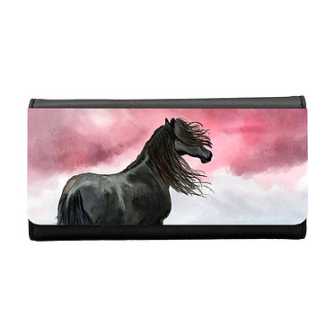 Ladies/girls purse wallet black horse image front view