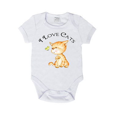 Baby romper play suit white with I love cats image front view