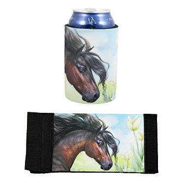 Neoprene stubby cooler with beautiful horse image front and flat view
