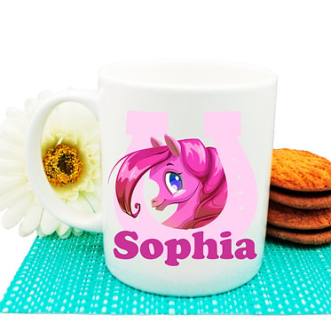Personalised ceramic coffee mug cute pony in horseshoe hot pink image front view