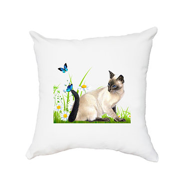 White cushion cover with zip 40cm x 40cm cat with butterflies image front view
