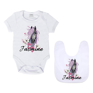 Personalised baby romper suit and matching bib gift set in white with purple horse image front view
