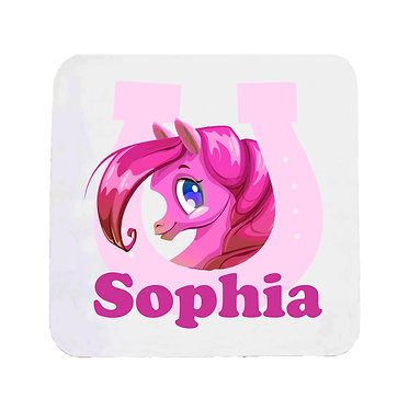 Personalised neoprene drink coaster cute pony in horseshoe hot pink image front view
