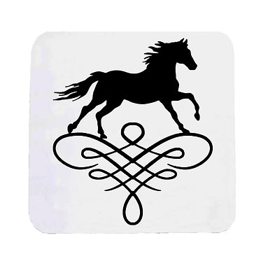 Neoprene drink coaster horse on scroll image in black and white front view