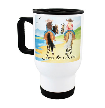 Personalised travel mug stainless steel best friends beach horse riding image front view