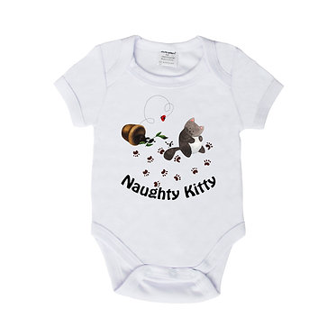 Baby romper play suit white with naughty kitty cat image front view