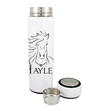 Personalised thermos flask drink travel bottle stainless steel horse with flowing mane black grey image front lid off view