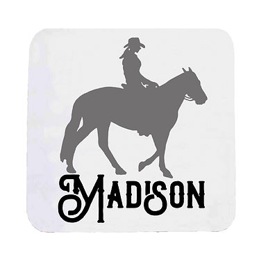 Personalised neoprene drink coaster western horse rider black grey image front view