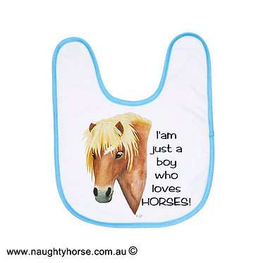 "Babies bib white and blue trim with horse and quote ""I'm just a boy who loves horses"" image front view"
