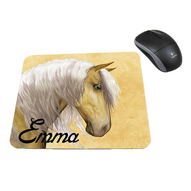 Neoprene computer mouse pad personalised palomino horse image front view