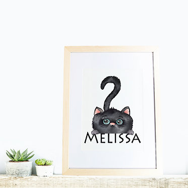 Rectangle wood picture frame personalized with cute black kitty image front view