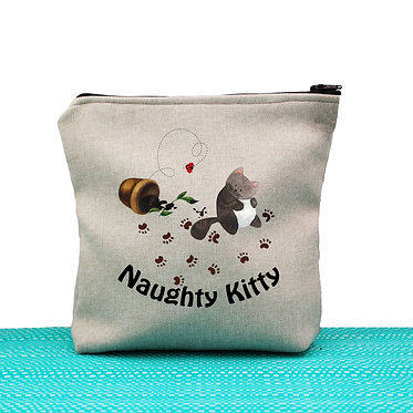 Cat theme cosmetic toiletry bag tan naughty kitty image front view