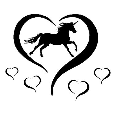 Unicorn with hearts vinyl decal sticker in black front view