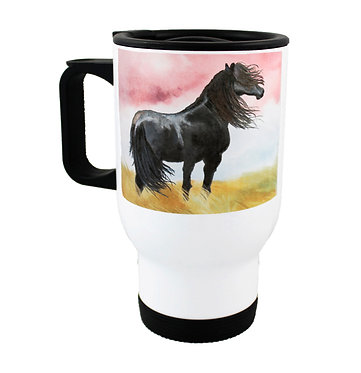 Travel mug stainless steel with black horse image front view