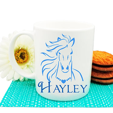 Personalised ceramic coffee mug horse with flowing mane blue image front view