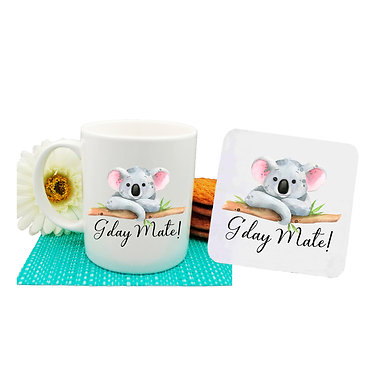 "Ceramic coffee mug and drink coaster set Australian Koala and quote ""G'day Mate"" image front view"