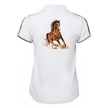Ladies horse cool polo shirt white brown horse back view