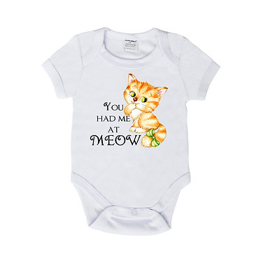 Baby romper play suit white with cute kitty you had me at meow image front view
