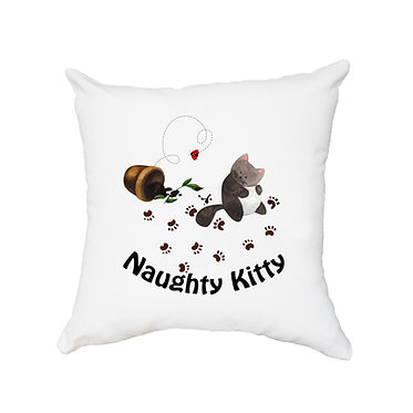 White cushion cover with zip 40cm x 40cm cute naughty kitty image front view