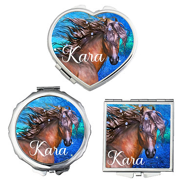 Set of three compact mirrors personalised fantasy horse image front view