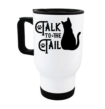 "Travel mug black cat ""Talk to the tail"" image front view"