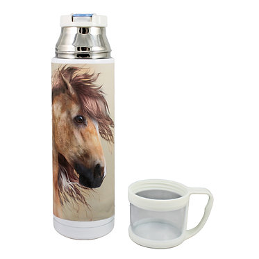 Thermos flask drink travel bottle 500ml stainless steel with cup off paint horse image front view