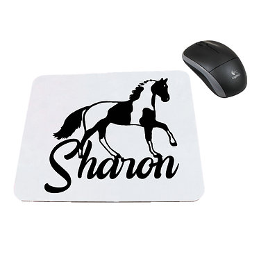 Neoprene computer mouse pad personalized with text paint horse black and white image front view
