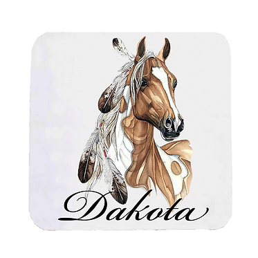 Personalised neoprene drink coaster sets personalised paint horse with feathers image front view