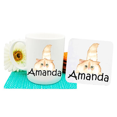 Ceramic coffee mug and drink coaster set personalized with a fluffy cat image front view