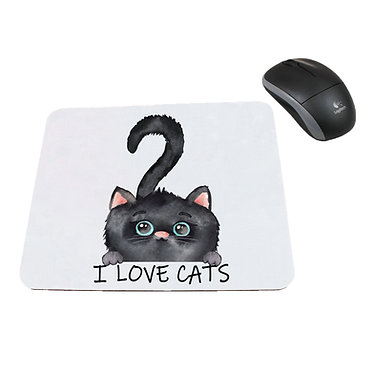 Neoprene computer mouse pad black kitty I love cats image front view