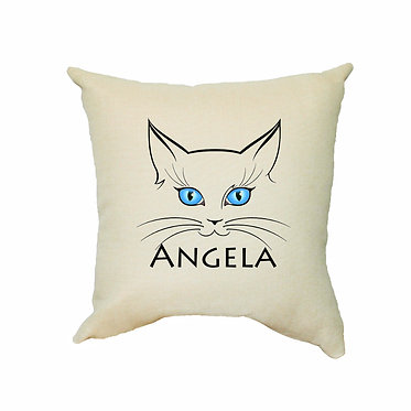 Personalized tan cushion cover with zip 40cm x 40cm with cat face and name image front view