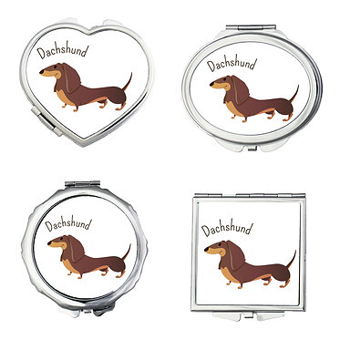 Set of four silver metal compact mirrors in oval, square, round and heart dachshund cartoon dog image front view