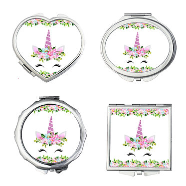 Set of four compact mirrors round, square, heart, oval shapes unicorn face image front view great unicorn gift idea