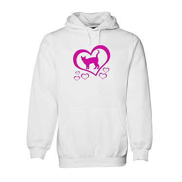Hoodie jumper white with hot pink cat and hearts front view