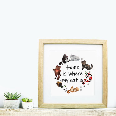 Square wood picture frame home is where my cat is image front view
