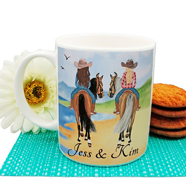 Personalised ceramic coffee mug best friends beach horse riding image front view