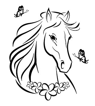 Horse with butterflies decal sticker front view