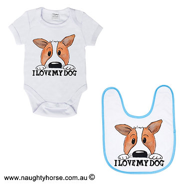 "Baby romper suit and matching bib gift set in white with blue trim on bib dog with quote ""I love my dog"" front view"