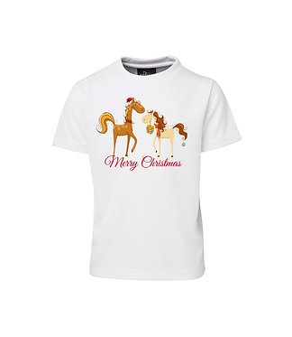 "Christmas horse kids t-shirt with two horses on front with ""Merry Christmas"" front view"