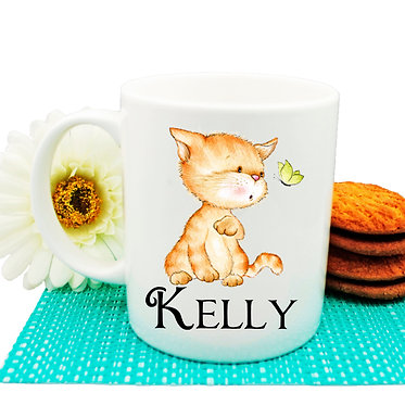 Ceramic coffee mug personalized with cute kitty and butterfly image front view