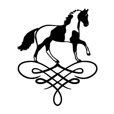 Horse vinyl decal sticker for horse float paint horse on scroll in black front view