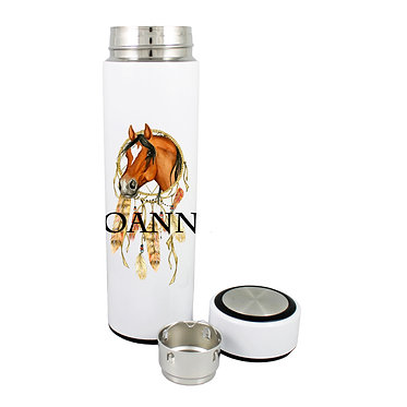 Personalised thermos flask 500ml stainless steel with lid off dream catcher horse image front lid off view