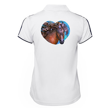 Ladies horse cool polo shirt white fantasy horse back view