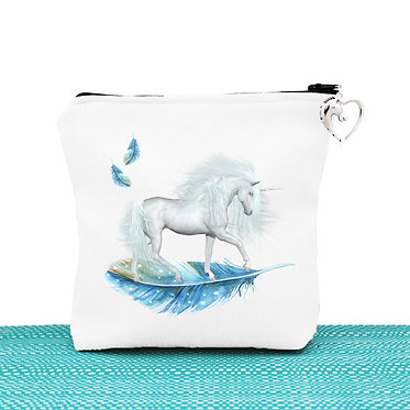 White cosmetic toiletry bag with zip unicorn on blue feather image front view