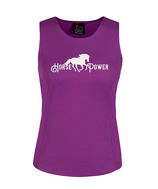 Ladies singlet top mulberry horse power image front view